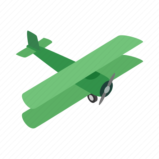 air, fly, green, isometric, plane, sky, travel icon