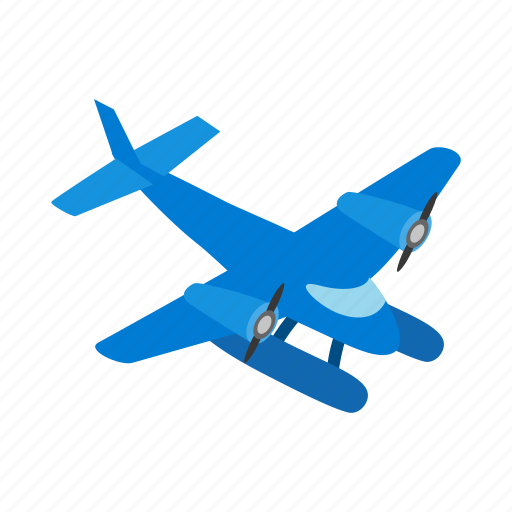 blue, fly, isometric, plane, sky, small, travel icon