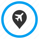 airport, location, map marker, navigation, pin, place, pointer icon