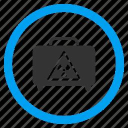 attention, caution, danger, dangerous luggage, hazard bag, risk, suitcase icon