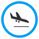 aeroplane, air plane, arrival, arrive, descend, descending airplane, landing aircraft icon