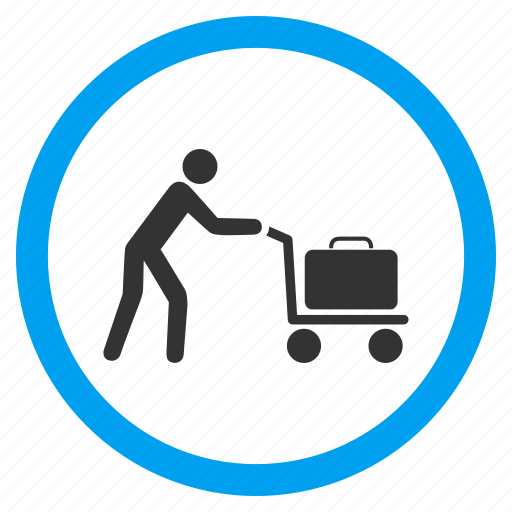 bag, baggage, briefcase, luggage cart, passenger trolley, transport, transportation icon