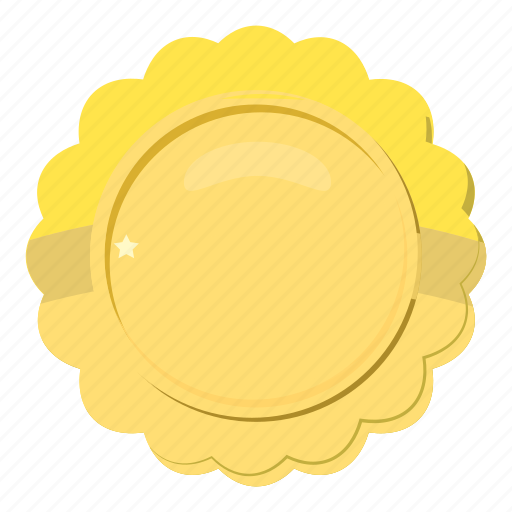 award, badge, cartoon, circle, gold, metal, winner icon