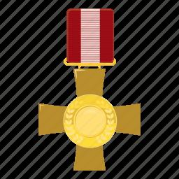award, cartoon, cross, medal, military, order, victory icon