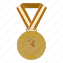 achievement, bronze, cartoon, first, medal, victory, winner icon