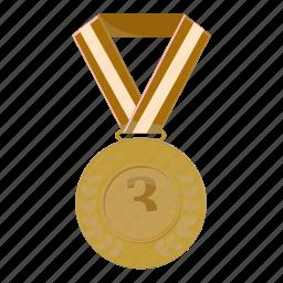 achievement, bronze, cartoon, first, medal, victory, winner icon