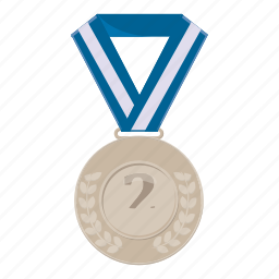 achievement, cartoon, first, medal, silver, victory, winner icon