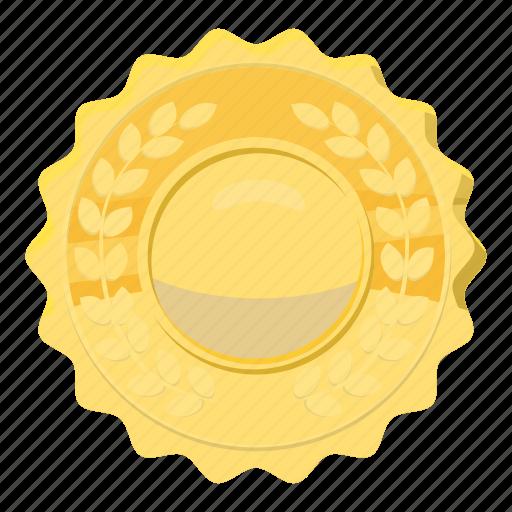 award, badge, cartoon, circle, gold, metal, winner icon