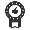 achievement, award, badge, collection, excellent, first, fist, hand, insignia, medallion, okay, power, ribbon, security, star, thumbs, up, win, winning icon