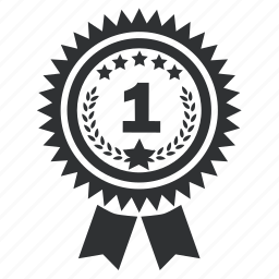 achievement, award, badge, best, collection, emblem, first, insignia, label, ribbon, star, trophy, win, winner icon