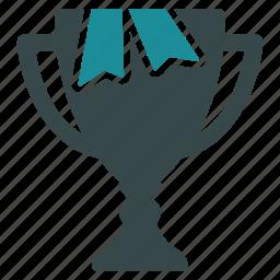 award, gold cup, ribbon, success, trophy, win, winner icon