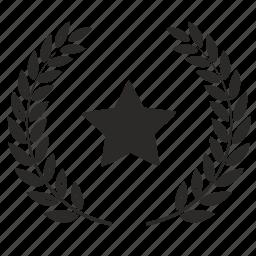 laurels, star, winner icon