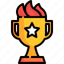 winner, competition, trophy, flame, award