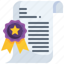 contract, certificate, patent, badge, diploma icon