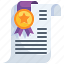 award, degree, certificate, patent, diploma icon