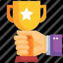 cup, awards, hand, winner, champion