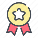 medal, award, ribbon, star