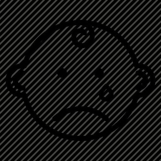 baby, boy, emoji, expression, face, sad icon