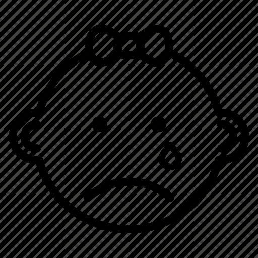 baby, expression, face, girl, sad icon