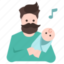 baby, dad, daddy, infant, lull, lullaby, newborn icon