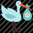 baby, crane, heron, infant, kid, newborn, stork icon