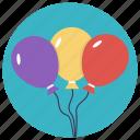 balloons, blue balloon, celebration, decoration, pink balloon