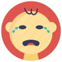 baby crying, baby in tears, baby sad face, sad baby, weeping baby icon
