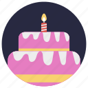 birthday, cake, cake with candle, celebration, party icon