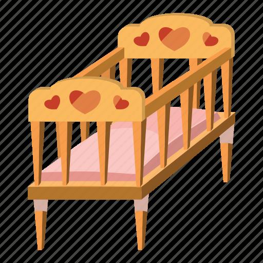 baby, bed, cartoon, child, childhood, children, furniture icon