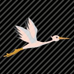 beautiful, bird, cartoon, feather, nature, stork, wildlife icon