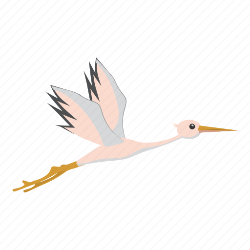 beautiful, bird, cartoon, feather, nature, stork, wildlife icon