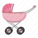carriage, cartoon, child, children, kid, pram, stroller icon