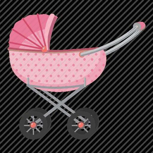 carriage, cartoon, child, children, kid, pram, stroller icon