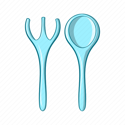 baby, cartoon, food, fork, object, spoon, tool icon