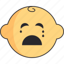baby, boy, cry, head, newborn icon