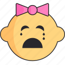 baby, cry, girl, head, newborn icon