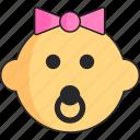 baby, girl, head, newborn, pacifier icon