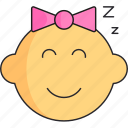 baby, girl, head, newborn, sleep icon