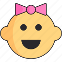 baby, girl, head, newborn, smile icon