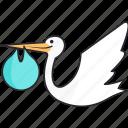 born, boy, pregnant, stork icon