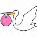 born, girl, pregnant, stork icon