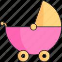 baby, girl, stroller icon