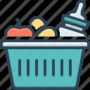 apple, baby, basket, bottle, food, hamper, picnic