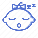 baby, emoticon, fun, girl, kid, sleep icon