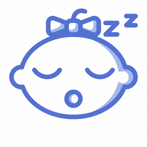 baby, emoticon, fun, girl, kid, sleep icon