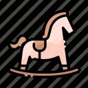 baby, child, cute, horse, kid, rocking