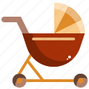 carriage, baby, toddler, kid, stroller icon