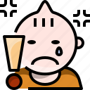 angry, toddler, baby, cry, sad icon
