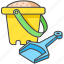 beach, bucket, kid, shovel, spade, toy icon