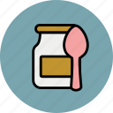 baby, breakfast, dessert, food, jar, spoon icon